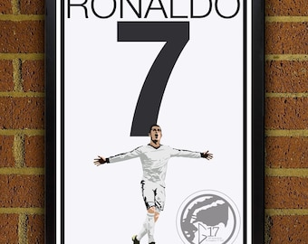 Cristiano Ronaldo 7 Poster - Real Madrid - Portugal Soccer Poster- 8x10, 13x19, poster, art, wall decor, home decor