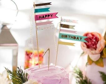 Birthday Cake Flags, Birthday Cake Topper, Happy Birthday Topper, Party Flags, Cake Picks, Birthday Cake Decorations