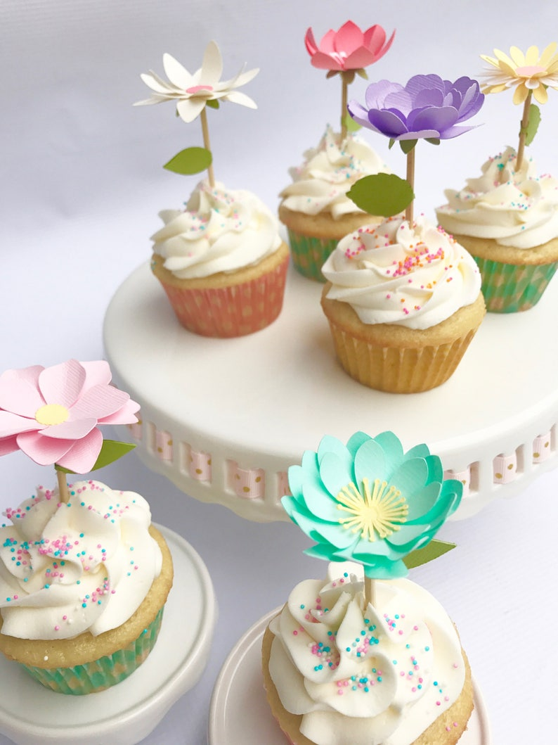 Flower Cupcake Toppers, Garden Party Decorations, Tea Party Cake Toppers,  Tea Party Bridal Shower, Garden Bridal Shower, Spring Decorations