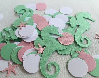 Mint and Pink Confetti, Seahorse Confetti, Mermaid Party, Beach Party, Starfish, Under The Sea Party, Wedding Confetti, Baby Shower Confetti