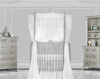 Sheer Round Crib Drapes, Fit Standard Round Crib