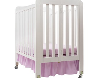 Solid Color Poly Cotton Dust Ruffle Crib Skirt- Choose your size for a Standard size Crib- or Mini\ Portable Crib