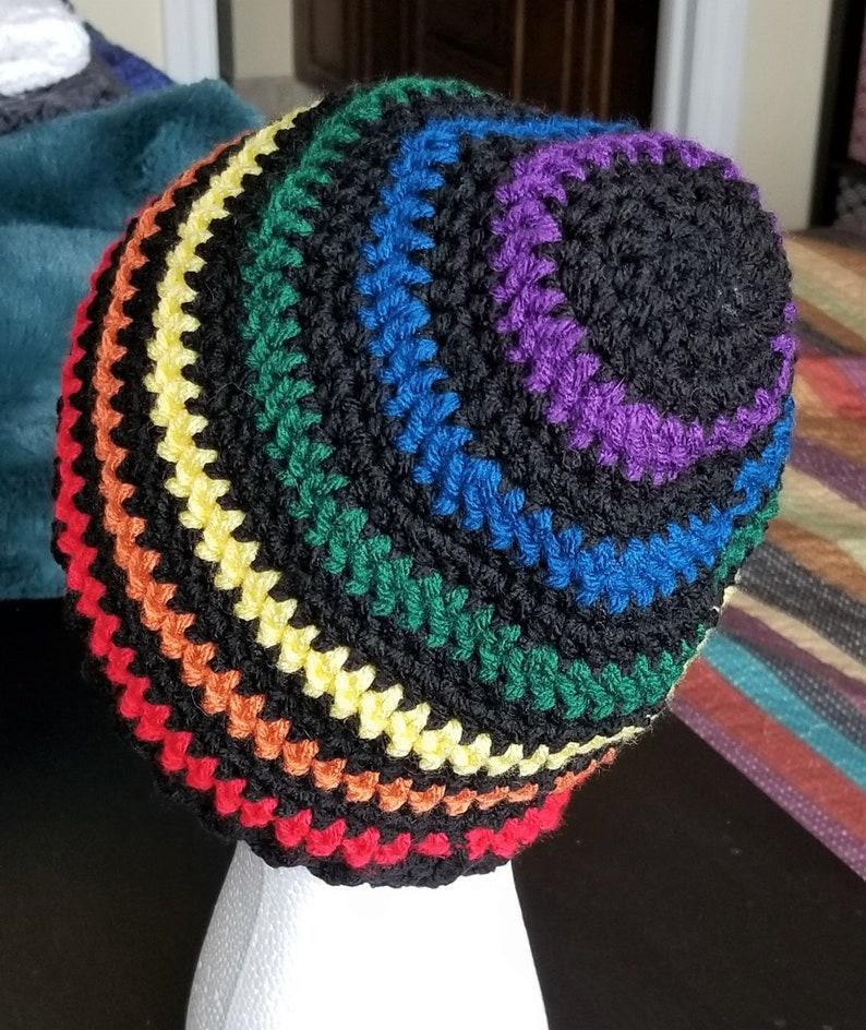 Crochet Hat Crochet Stripe Beanie Stripe Hat Rainbow Beanie Hat Crochet Beanie
