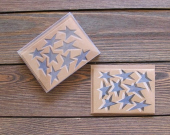 LAST ONE! Star Letterpress Stationery. Set of 8 Blue and White Color Cards.