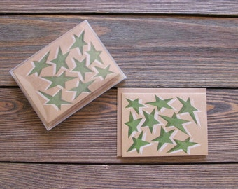 Star Letterpress Stationery. Set of 8 Green and White Color Cards.
