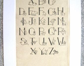 Nursery Animal Alphabet Intaglio Fine Art Print