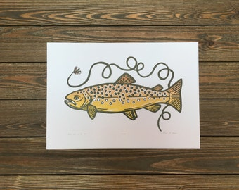 LIMITED EDITION Brown Trout on the Fly Woodcut Letterpress Print (Original)