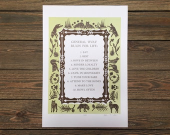 LIMITED EDITION General Wolf Rules for Life: Woodcut Letterpress Print (Original)