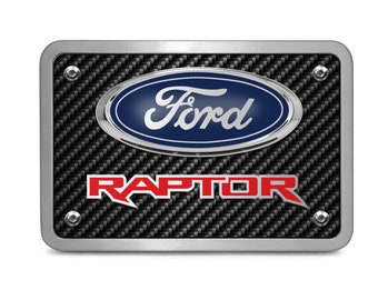 F-150 Raptor in Red Ford Carbon Fiber Texture Black Leather Strap Key Chain iPick Image