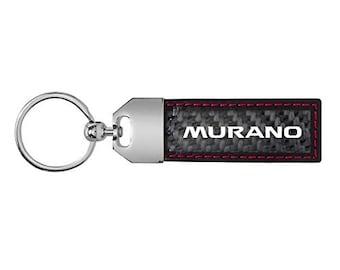 iPick Image Gunmetal Gray Metal Plate Black Leather Strap Key Chain for Nissan Altima