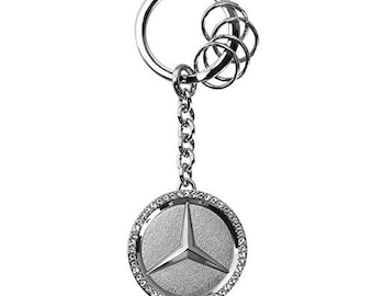 Key Protector Metal Keychain Set With Swarovski Crystals For Mercedes Benz Black