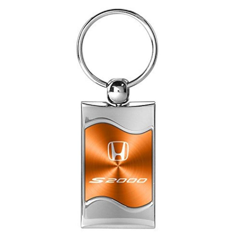 Honda S2000 Orange Spun Brushed Metal Key Chain Key-ring Keychain
