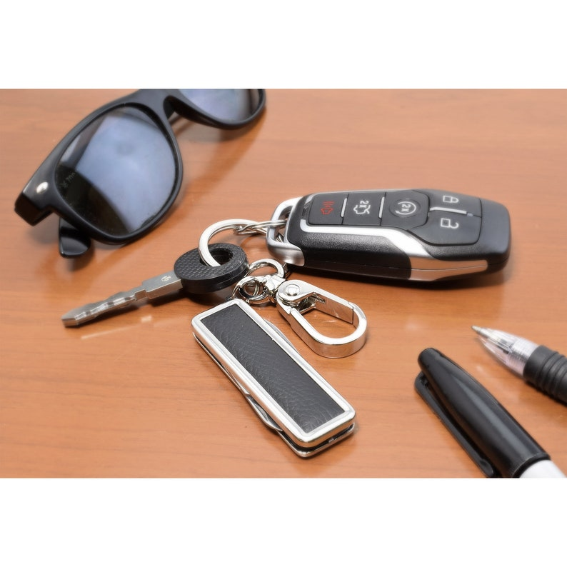 392 HEMI Multi-Tool Genuine Black Leather Key Chain Key-ring for Challenger