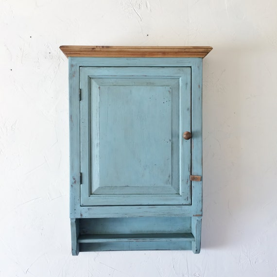 White Pine Cabinets: Distressed White Pine Cabinet Chalk Paint Farmhouse