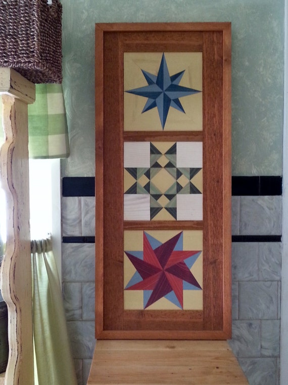 Primitive folk art handmade tryptych barn quilt wood mosaic wall hanging