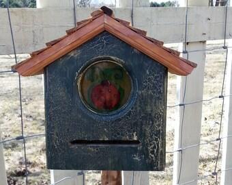 Primitive Folk Art Cedar Ladybug House Lady Bug Habitat