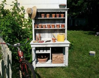 Barn Wood Potting Bench, Plant Stand Handmade Cedar