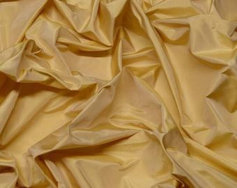 "Iridescent Yellow Gold Silk Taffeta 100% Silk Fabric, 54"" Wide, By The Yard (TS-7041)"