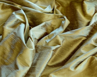 "Iridescent Celadon Dupioni Silk, 100% Silk Fabric, 54"" Wide, By The Yard (S-217)"
