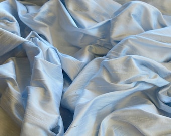 """Iridescent Baby Blue Dupioni Silk, 100% Silk Fabric, 44"""" Wide or 54"""" Wide, By The Yard (S-206)"""