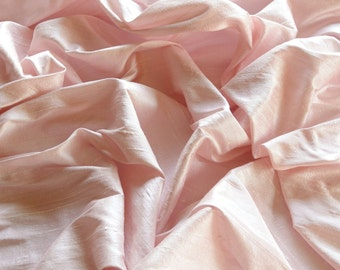 """Iridescent Baby Pink Dupioni Silk, 100% Silk Fabric, 44"""" Wide or 54"""" Wide, By The Yard (S-212)"""
