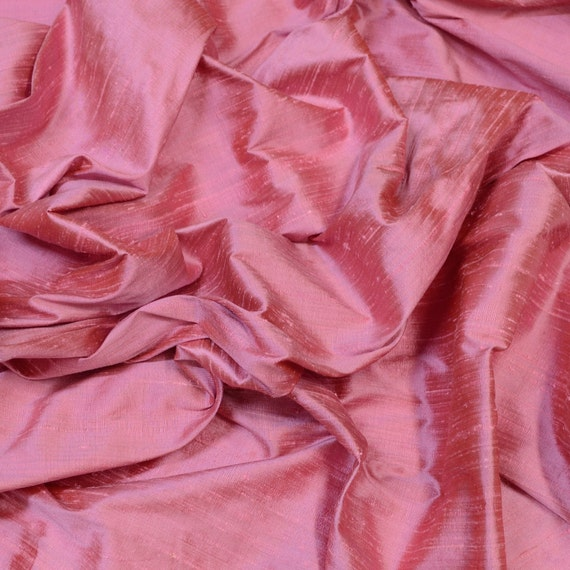 "S-232 Iridescent Dark Pink Dupioni 100/% Silk Fabric By The Yard 44/"" Wide"