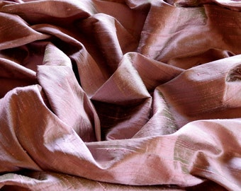 "Iridescent Mauve Dupioni Silk, 100% Silk Fabric, 44"" Wide, By The Yard (S-179)"