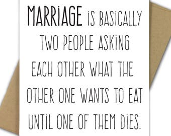 Wedding Card   Anniversary Card   Marriage   Engagement   Marriage Is Asking Each Other What to Eat