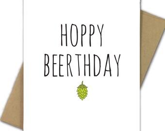 Birthday Card   Funny Birthday Card   Pun   Beer   Hops   Happy Birthday   Beer Geek   Beer Nerd   Beer Lover   Drink   Hoppy Beerthday