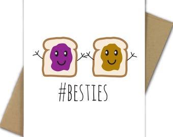 Greeting Card | Best Friend | Friendship | Besties | Peanut Butter and Jelly | PB&J