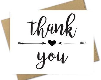 Greeting Card   Thank You   Thanks   Arrow   Heart   Minimalist   Minimal   Black and White   Tribal   Appreciation   Thank   Script  