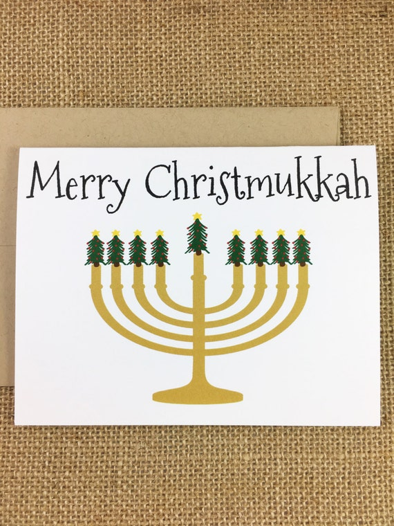 Christmas Hannakah.Pack Of 10 Christmas Hanukkah Cards Merry Christmukkah