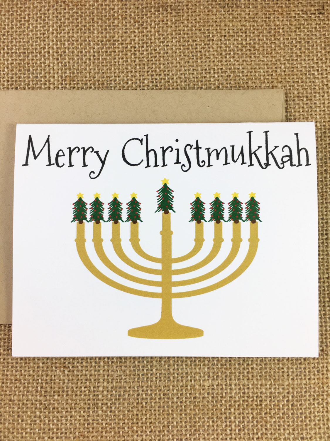 Christmas Hanukkah Card Merry Christmukkah Etsy
