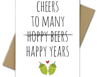 Greeting Card   Wedding Card   Engagement   Shower   Married   Beer   Hops   Craft Beer   Drink   Pun   Funny   Cheers to Many Hoppy Beers