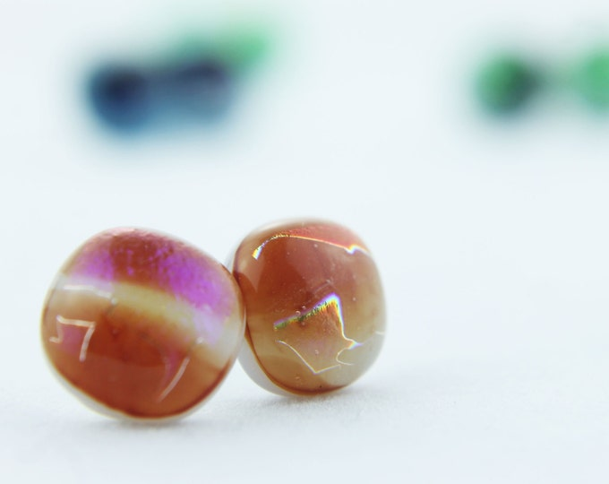 Orange / terra cotta, pink Dichroic Glass Opal Stud Earrings, 12 mm