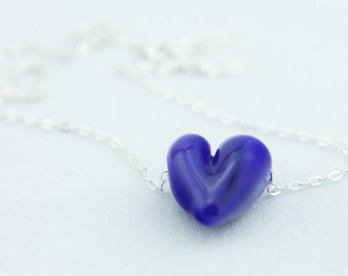 Cobalt Blue / heart shape pendant/ hand made/ sterling silver chain/ lamp work heart pendant by Destellos - Glass Art & Accessories