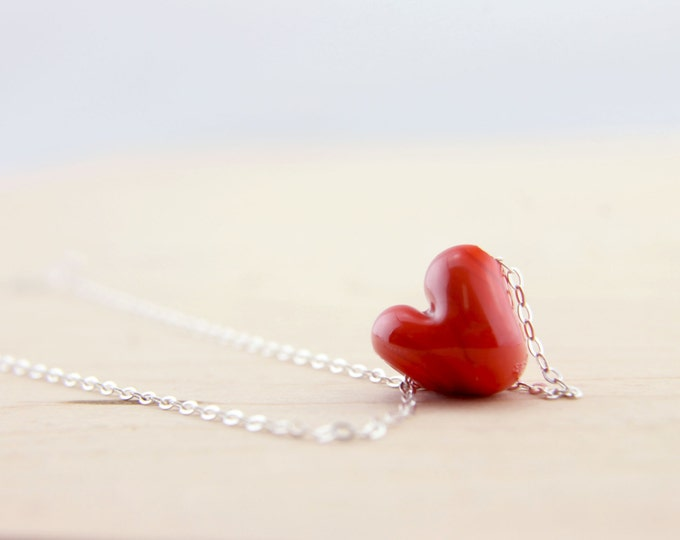 Granate Red 2 /heart shape pendant/ hand made/ sterling silver chain/ lamp work heart pendant by Destellos - Glass Art & Accessories