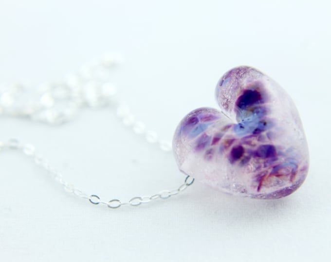 Purple Confetti Clear /heart shape pendant/ hand made/ sterling silver chain/ lamp work heart pendant by Destellos - Glass Art & Accessories