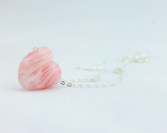 Pink and white / heart shape pendant/ hand made/ sterling silver chain/ lamp work heart pendant by Destellos - Glass Art & Accessories