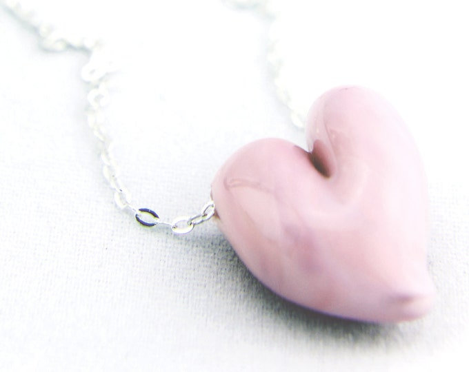Baby Pink / heart shape pendant/ hand made/ sterling silver chain/ lamp work heart pendant by Destellos - Glass Art & Accessories