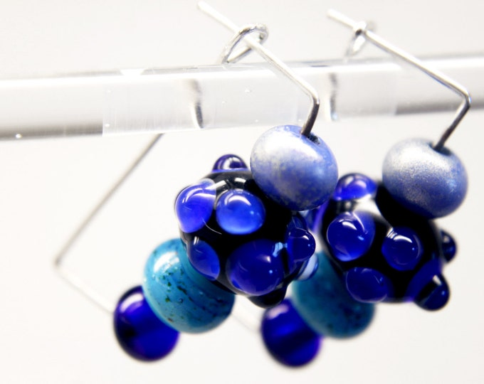 Lampwork glass bead earrings, adjustable,   unique design,  hand made piece by piece, only for you with love.