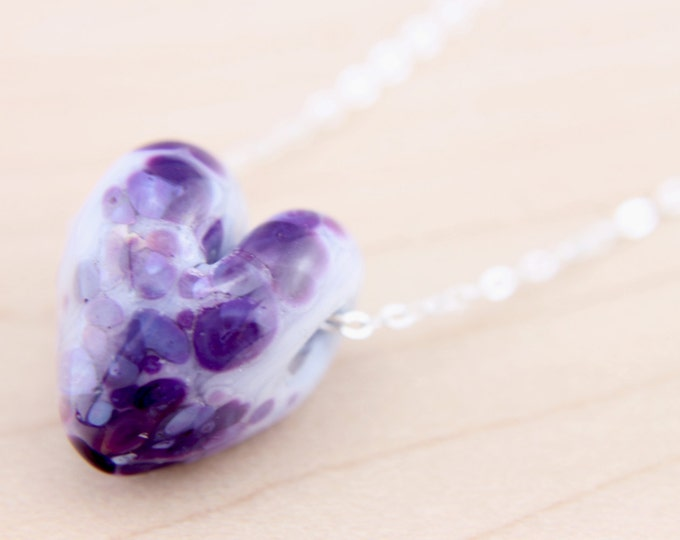 Purple Confetti 2 / heart shape pendant/ hand made/ sterling silver chain/ lamp work heart pendant by Destellos - Glass Art & Accessories