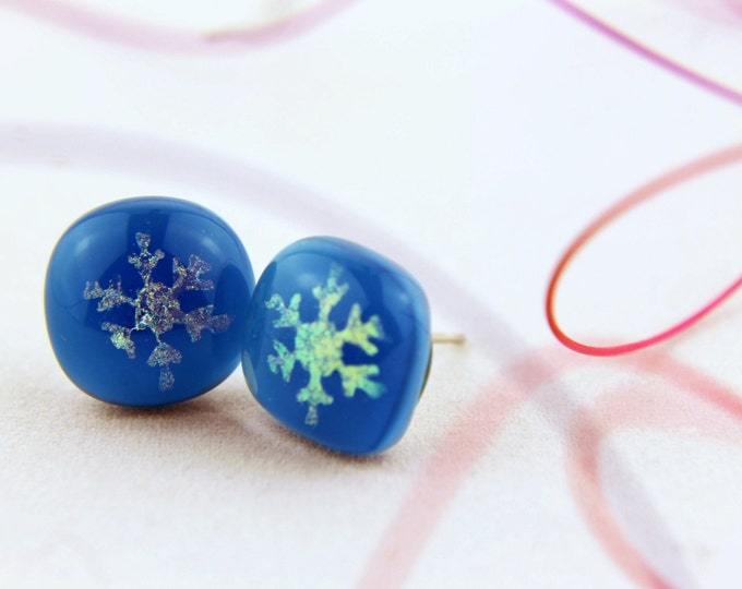 Dichroic/ snowflake in steel blue/ stud fused glass/  earrings/ 12mm/