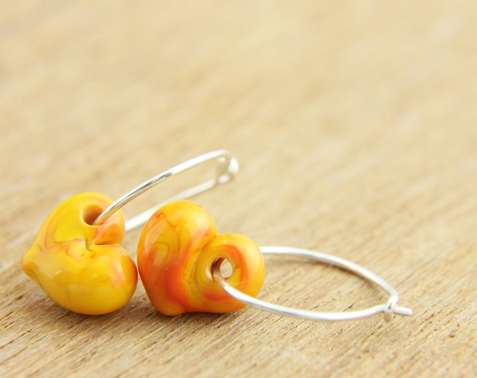 Orange Earrings, hand made with glass and sterling silver, lamp work bead by Destellos - Glass Art & Accessories, READY TO SHIP