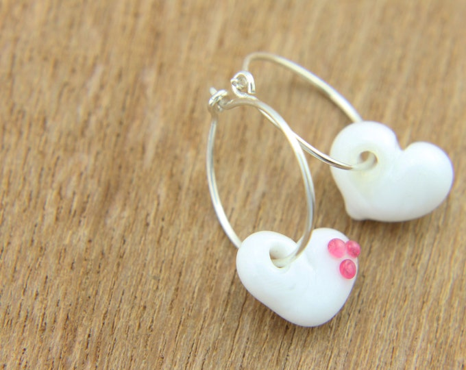 White Earrings, hand made with glass and sterling silver, lamp work bead by Destellos - Glass Art & Accessories, READY TO SHIP