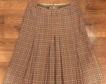761c58e75 Vintage 70's Brown Celine Brown Plaid Wool Midi Skirt