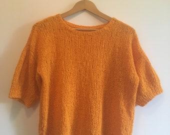 Vintage Orange Knit Top Blouse Knitted Short Sleeve