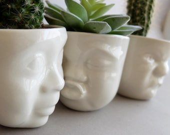 Ceramic Succulent Planter Set Small Pot Face Planters Head Planter Gift For Her Small Vase Modern Planter Indoor Planter Christmas Gift Idea