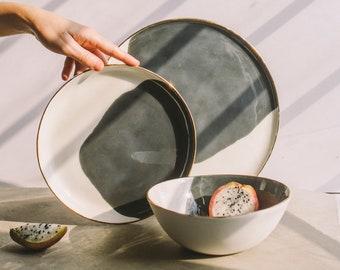 Handmade Pottery Plates, Ombre Plates, Hand Painted Ceramic Dinnerware Set, Soup Bowl, Dinner Plate, Cake Plate, Tableware, Restaurant Ware