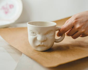 Ceramic Coffee Cup, Face Mug, Pottery Coffee Cup, Grumpy Mug, Porcelain Coffee Cup, Coffee Lovers, Tea Cup, Modern Mug, Funny Mug For Dad